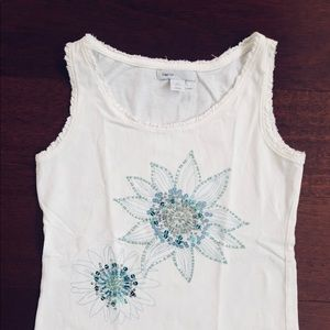 Girl's GapKids white tank with sequins, size S